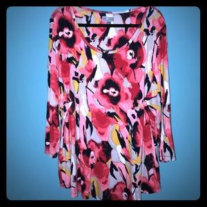 JM Collection Woman Print Tunic 3/4 Sleeve 3X